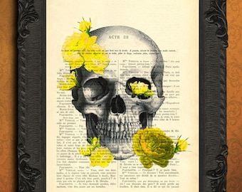 Skull with yellow flowers print skull and yellow roses dictionary art print