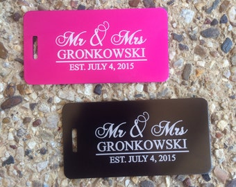 2 - Personalized Wedding Gift, Newlywed Present, Honeymoon Gift, Mr and Mrs Luggage Tags, Destination Wedding, Luggage Tags Personalized