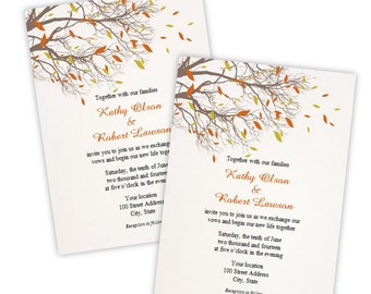 Wedding Invitation - Fall Branches | Instant Download | DIY Printable Template | Microsoft Word Format | Autumn Wedding