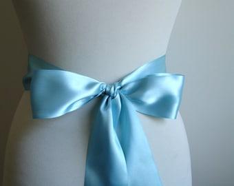 Turquoise Bridal Sash  Double Side Satin Ribbon
