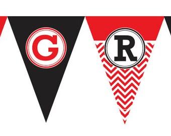 Graduation Banner, PRINTABLE, Chevron Pattern, Congratulations/Congrats, Custom School Colors, Medium or Large Size