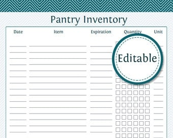 Pantry Inventory List - Fillable - Printable PDF - Instant Download