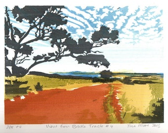 View from Bridle Track 4 woodblock print