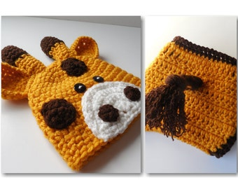 Giraffe Beanie and Diaper Cover Set - Diaper Cover with Tail - Photo Prop - 0 to 6 Months -  Handmade - Crochet - Made to Order