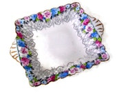 Vintage Trinket Dish, Staffordshire Bone China, Delicate, Floral Design, Square Candy Dish, Pink , Blue and White, Made in England