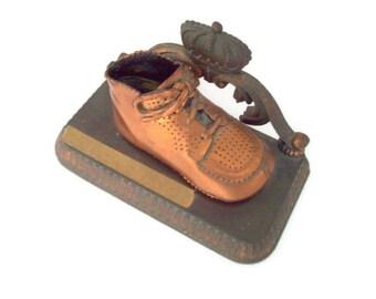 Vintage Bronzed Baby Shoe, Keepsake, 1950's, Bookend, Baby Boomer, Antique Bronze, Bronze Shoes,Baby Shower, Nursery Decor