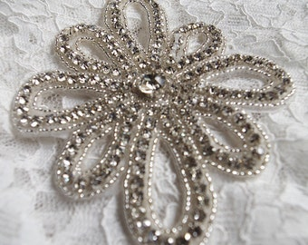 crystal applique, rhinestone Applique, swarovski crystal applique, Bridal Applique, wedding applique, beaded rhinestone applique