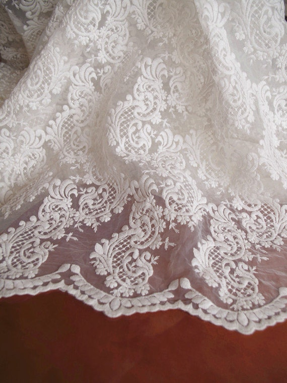 ivory organza lace fabric embroidered lace fabric retro floral lace wedding fabric bridal. Black Bedroom Furniture Sets. Home Design Ideas