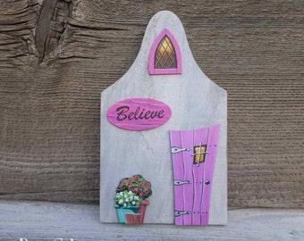 Believe Fairy Village Dutch Fairy Cottage Wonky Door  Miniature Architectural Art Acrylic Painting on Wood