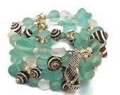 Sea Shell Sea Glass Magnesite Memory Wire Cuff Bracelet, OOAK Beach Jewelry, Seafoam Mint Green Chocolate Brown White Silver Wrap Bracelet
