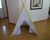"Play Tent Gray Chevron Teepee 44"" base size with Lemon Yellow Sleeves Kids Tepee"