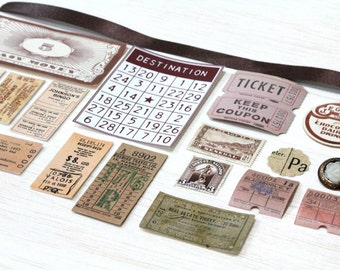20 Piece Mini Brown Paper Ephemera Pack - Tickets, Cards, Tags, Button, Stamps, etc. Pack for Altered Arts Collage Destash
