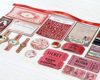 20 Piece Mini Red Paper Ephemera Pack - Tickets, Cards, Tags, Button, Stamps, etc. Pack for Altered Arts Collage Destash