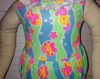 Carter's baby girl bathing suit swimsuit fish sz 18M blue green ruffles