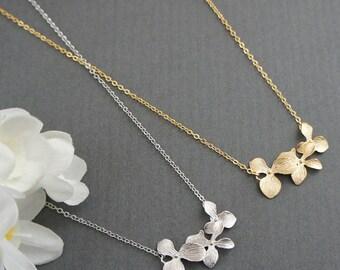Triple Orchid Pendant Necklace, Wedding Necklace, Bridai Necklace, Bridesmaid Necklace