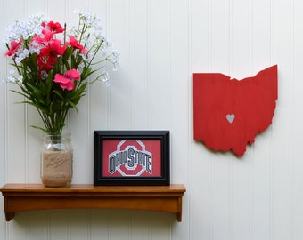 "Ohio State Buckeyes ""State Heart"" wall art, handcrafted wood with official team colors"