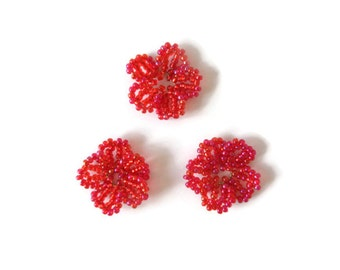 seed bead flower ornament, seed bead flowers, decorative ornament, spring summer decoration, set of 3 red or blue flowers