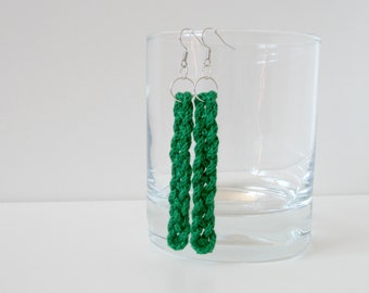 green celtic earrings, snake weave dangle earrings from Kumihimo ropes, textile fashion jewelry