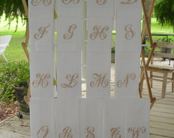 Linen Monogram Hand towels with 4 inch Candlewick initial 36.00 each