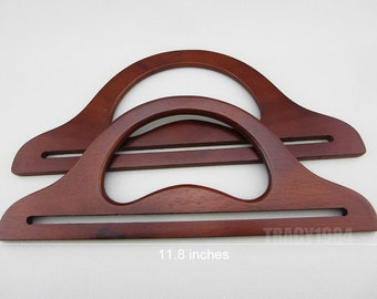 "Deep Brown Wooden Handles 11.8"" wide"