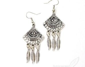 """Aztec Fan Pendant, Triple Feather Dangle, 2.5"""" Earrings"""