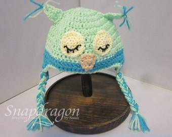 Newborn crochet owl hat in pale blues ready to ship, photo prop
