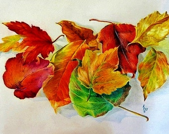 Fallen Leaves an original pencil painting available in Giclee print with vivid fall coloring featured against a neutral backdrop
