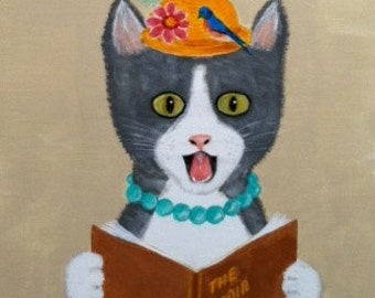 Animal Wall Art - Original Acrylic Painting of a Singing Cat - Funny Juvenile Room Art on 12x16 Canvas Board