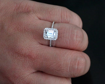 White Topaz Halo Ring in 14k White Gold with White Topaz Emerald Cut 8x6mm and Diamonds (Also Available in Rose Gold)