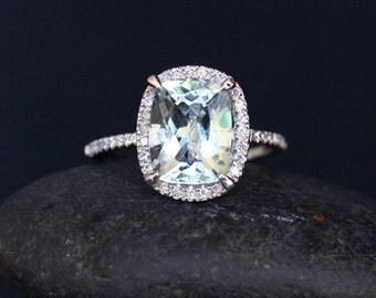 Cushion Aquamarine Engagement Ring in 14k White Gold with Aquamarine Cushion 10x8mm and Diamonds