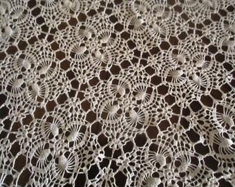 VINTAGE Hand crocheted centerpiece, off white