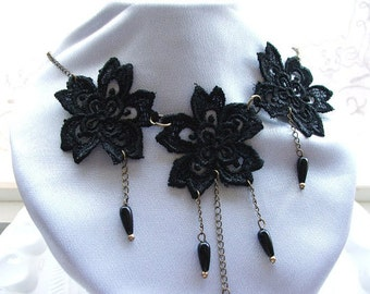Large Black  Lace Flowers Necklace with black  Beads