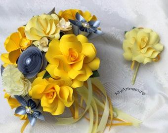 Paper Flower Bouquet and boutonniere