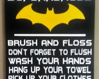 Batman, Attention All Superheroes Bathroom Rules, Wood Sign, Bathroom Decor,  Home Decor
