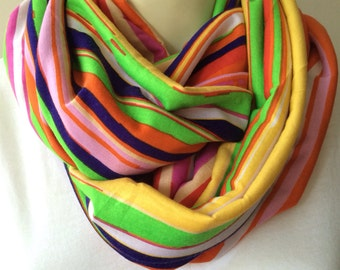 Neon striped infinity scarf, colorful striped scarf, Soft stretch knit infinity scarf, multi color striped scarf, womens scarf