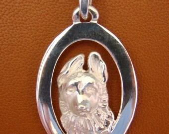 Sterling Silver German Shepherd Puppy Head Study On A Vertical Oval Frame Pendant