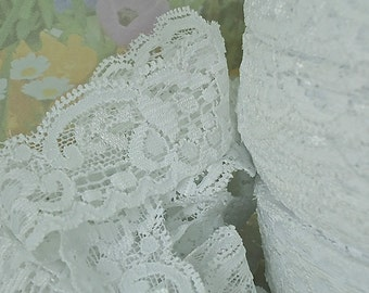 3yds Lace Stretch White Elastic Trim  1 1/4 inch Ribbon Lace Baby Headbands, lingerie Edging Lace Elastic by the yard