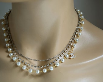 Wedding Bridal Jewelry, Bridal Pearl Necklace, Brides Bridesmaids, Wedding Pearl Necklace, Pearl Necklace, Ivory Pearl Necklace