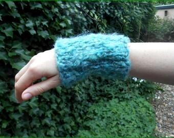 Light green fluffy fairy cuffs / wrist warmers / fingerless gloves