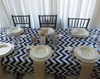 navy and white chevron table cloth