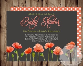 BABY GIRL Baby Shower Invitation,poppies baby shower, baby shower invite, baby shower,flowers, poppy flower, poppy, poppies