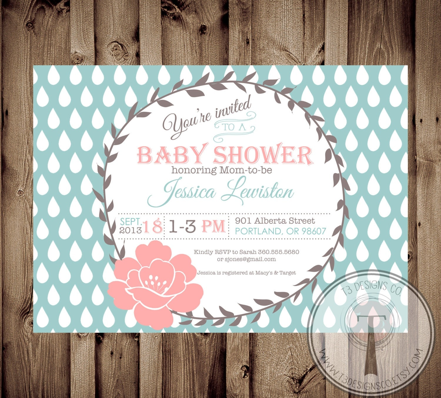 Baby Shower Invitation, BABY GIRL, Modern, Vintage, Baby Shower,invite,  Invitation, Baby Shower Brunch, Brunch, Modern Vintage, Square