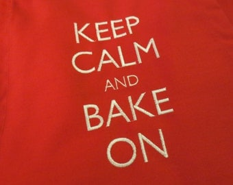Embroidered Christmas Apron - Keep Calm and Bake on!