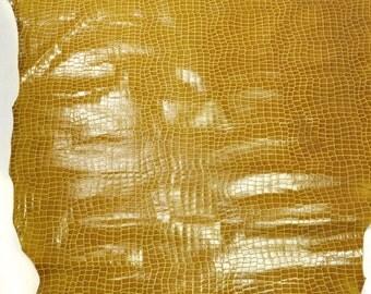 Mustard Alligator Animal Pattern Leather- 991L-8-MUSTARD