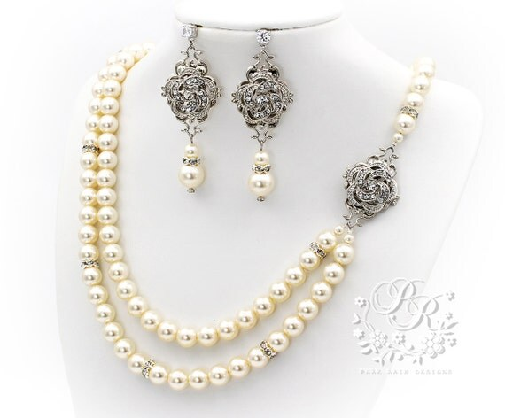 Wedding Necklace Earrings set Double Strands Swarovski Pearl Rhinestone Necklace Earrings wedding jewelry set Bridal Accessories camelia