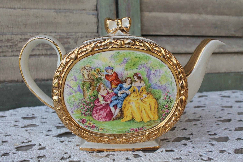 Vintage Sadler Teapot Crinoline Victorian Ladies With Cherubs