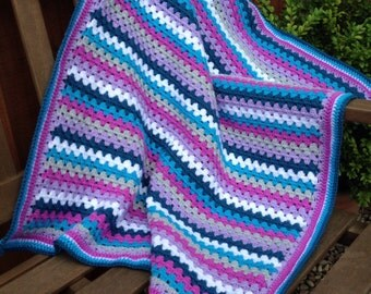 "Crochet granny stripe blanket in purple and teal - hand-made to order - 30""x36"""