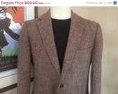 WINTER SALE Vintage Harris Tweed Jacket / Blazer / Sport Coat in Classic Browns