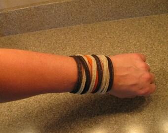 Felt Wrap Bracelet 100% Eco-fi Post-Consumer Recycled Plastic Bottles, Brown,Orange, Tan