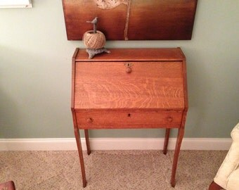 Solid Oak Secretary Desk Antique Desk Writing Desk Small